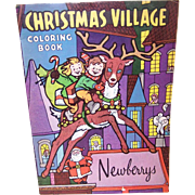 C.1965 NEWBERRYS Christmas Village Coloring Book - Never Used!