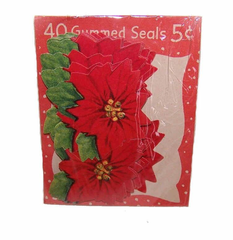 40 Gummed VINTAGE CHRISTMAS Seals - 5 Cent Package - Red Poinsettias!