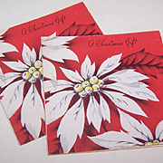Pair C.1950 CHRISTMAS Gift Cards (Small) - White Poinsettias!