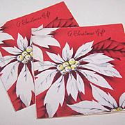 Pair C.1950 CHRISTMAS Gift Cards (Small) - White Poinsettias!