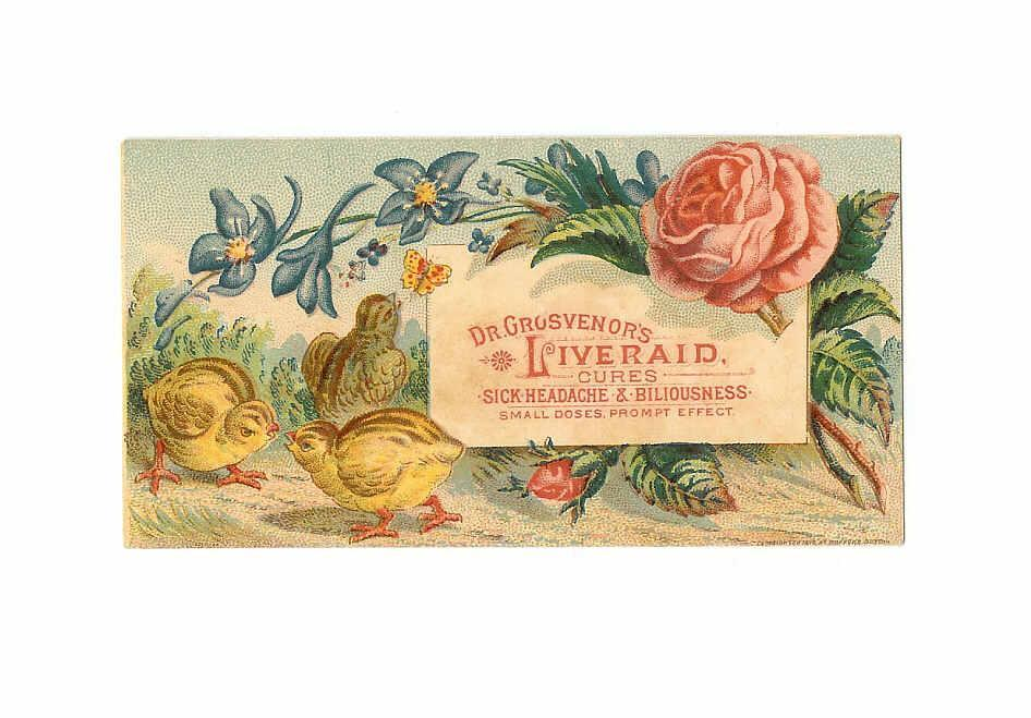 VICTORIAN Trade Card for Dr. Grosvenor's Liveraid Cures!