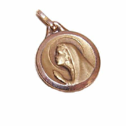 Adorable FRENCH Gold Filled Charm/Medal (ORIA) - Young Girl at First Communion!