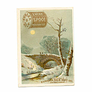 VICTORIAN Trade Card for Eureka Silk Thread - Every Spool Warranted - Winter Scene!