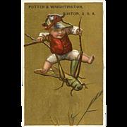 VICTORIAN Trade Card for Potter & Wrightington - Jockey Riding a Grasshopper!