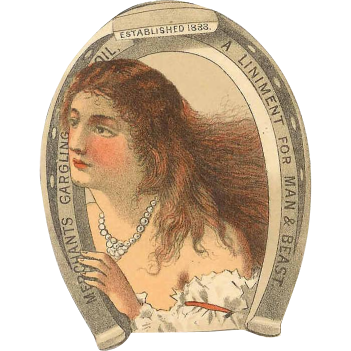VICTORIAN Trade Card for Merchant's Gargling Oil - Linament for Man & Beast!