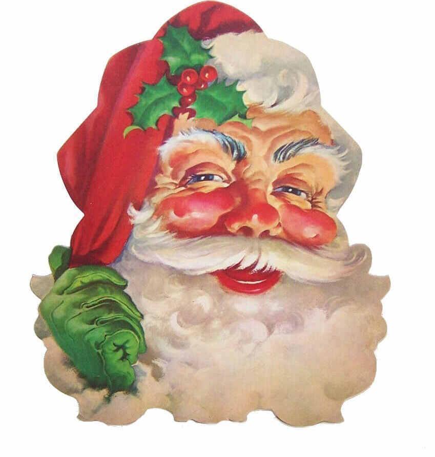 Vintage DENNISONS Cardboard Santa Claus Decoration!