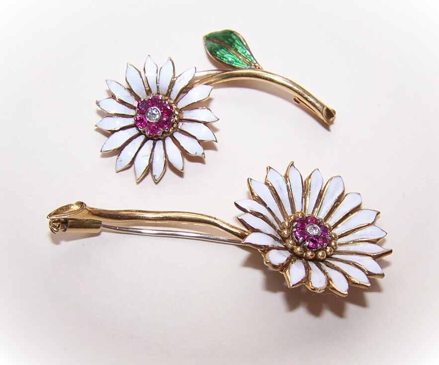 2 VINTAGE European 18K Gold, Ruby, Diamond & Enamel Floral Pins/Brooches!