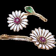 2 VINTAGE European 18K Gold, Ruby, Diamond & Enamel Floral Pins/Brooches!