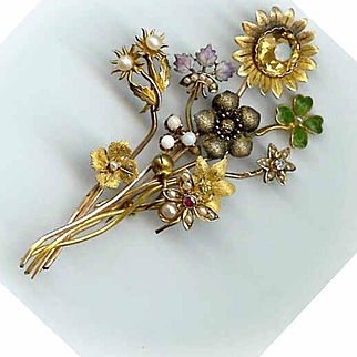 "Unique ANTIQUE VICTORIAN 14K Gold, Diamond, Pearl & Enamel ""Stick Pin"" Brooch!"