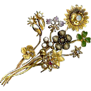 "Unique ANTIQUE VICTORIAN 14K Gold, Diamond, Pearl & Enamel ""Stick Pin"" Brooch!"