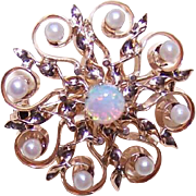 ANTIQUE EDWARDIAN 14K Gold, Natural Pearl & Opal Pin/Pendant Combo!