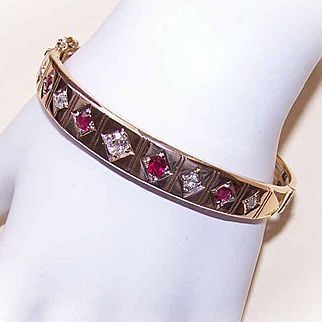 Stunning ART DECO 14K Gold, 2.35CT TW Diamond & Ruby Hinged Bangle Bracelet!