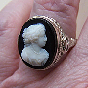 ART DECO 14K Gold & Hardstone Sardonyx Cameo Filigree Ring!