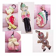 Collection of CRACKER CHARMS - Popeye, Gaucho, Art Deco Drummer, Indian Chief, Cannibal!