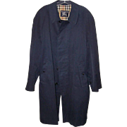 Mens 1960s Classic BURBERRYS Navy Blue Raincoat, Mackintosh!
