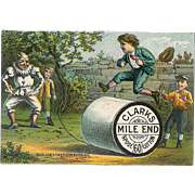 VICTORIAN Trade Card for Clarks Mile End Spool Cotton - Jester & Children!