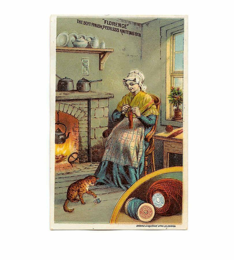 VICTORIAN Trade Card for Florence Darning Silk - Woman with Cat!