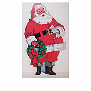 Vintage Cardboard SANTA CLAUS Die Cut Wall Decoration!