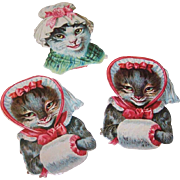 3 VICTORIAN Die Cuts - Lady Cats, Lady Kittens, Victorian Dress Up, Unused!