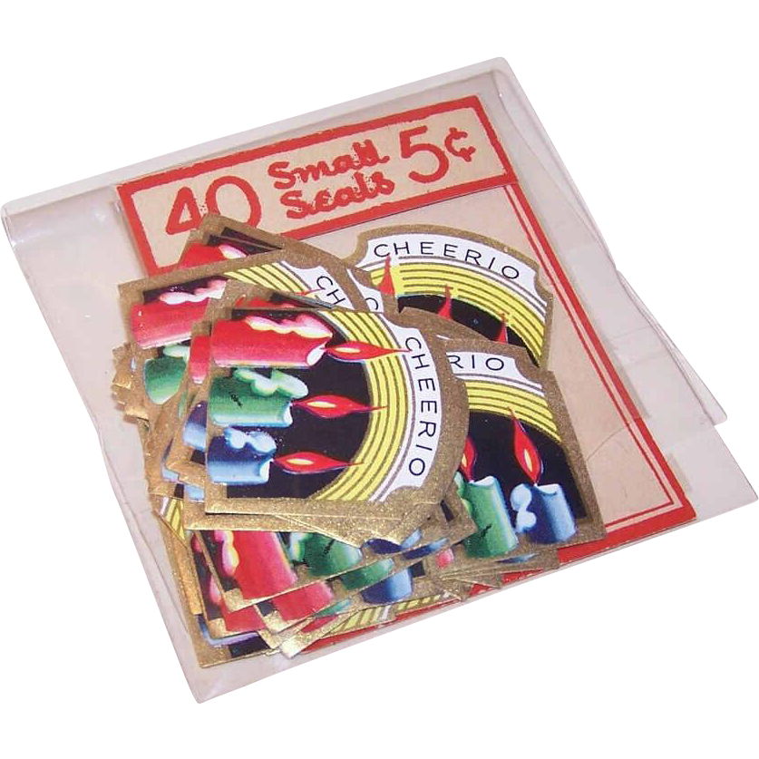 Vintage CHRISTMAS Collectible - 40 Gummed Christmas Seals/Christmas Stickers - 5 Cent Package!