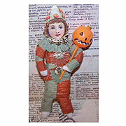 Vintage HALLOWEEN Spun Cotton Ornament - Clown with Pumpkin Head Pick!