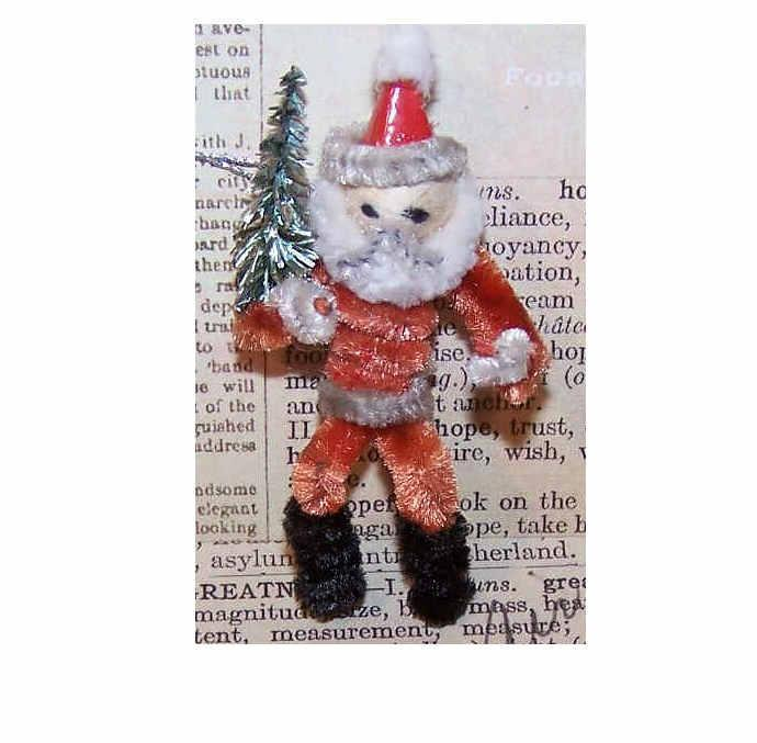 1960s Made in Japan RED & White CHENILLE & Santa Ornament/Package Tie!