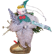 Vintage CHRISTMAS Ornament - White Chenille Pixie on Gold Paper Boot!