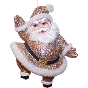 Vintage CHRISTMAS Ornament - Gold Glitter Santa Claus!