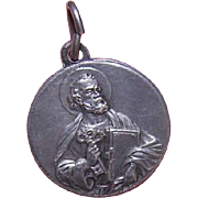 Vintage ITALIAN Silverplate Medal or Charm - Saint Peter & The Keys to Heaven!