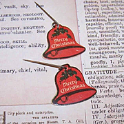 2 Vintage Advertising CHRISTMAS Pins - Bell Shape from Peoples Trust & Savings Bank!