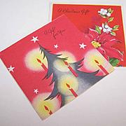 Pair C.1950 CHRISTMAS Gift Cards (Small) - Christmas Tree & Poinsettias!
