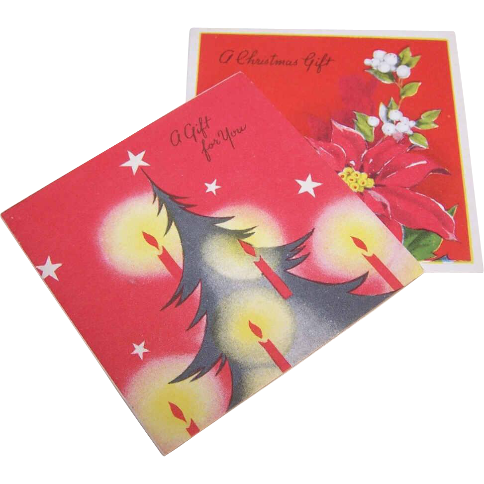 Pair C.1950 CHRISTMAS Gift Cards (Small) - Christmas Tree & Poinsettias!