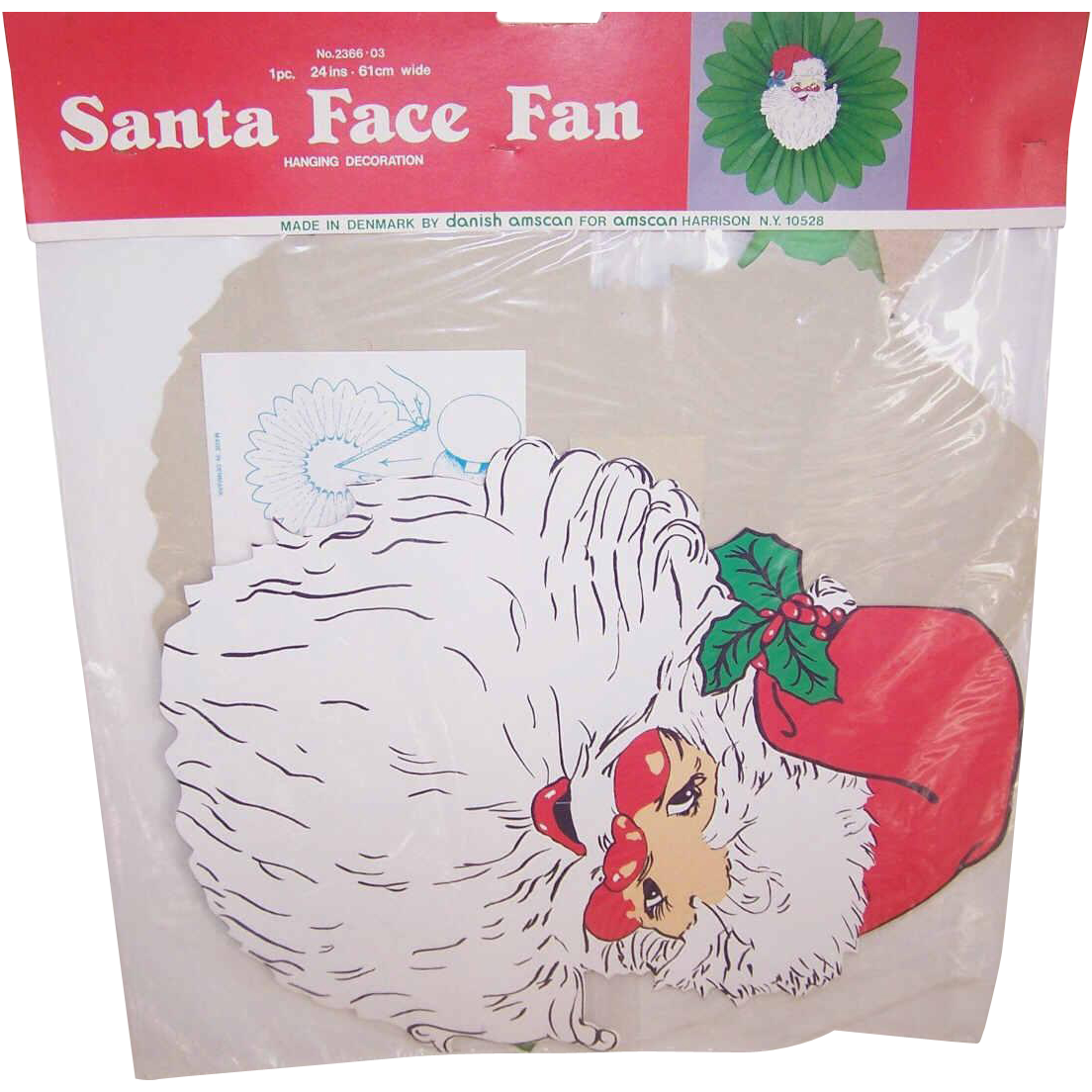 C.1981 Santa Face Honeycomb Fan By Danish Amscan - Mint in Package!