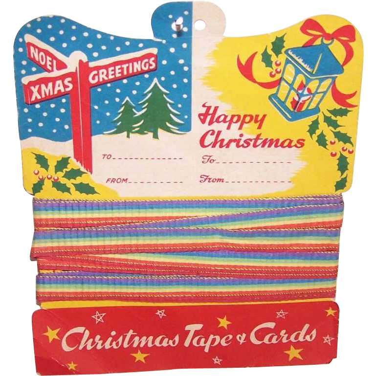 C.1950 Christmas Tape & Cards Package Decorations!