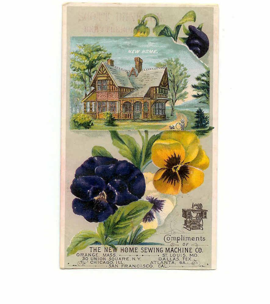 VICTORIAN Trade Card for New Home Sewing Machine Co - Lovely Pansies!