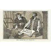 VICTORIAN Trade Card for Ayer's Almanach - B&W Engraving - The Invention of Printing!