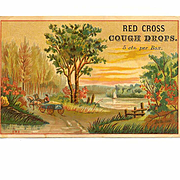 VICTORIAN Trade Card for Red Cross Cough Drops - 5 Cts per Box!