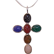 Vintage STERLING SILVER & Multi Semi-Precious Stone Scarab Cross Pendant!