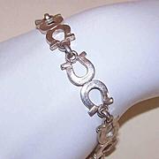 Vintage STERLING SILVER Link Bracelet - Horseshoes!