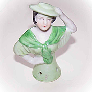 Vintage MADE IN JAPAN Porcelain Half Doll, 1/2 Doll, Pincushion Doll, Raven Haired!
