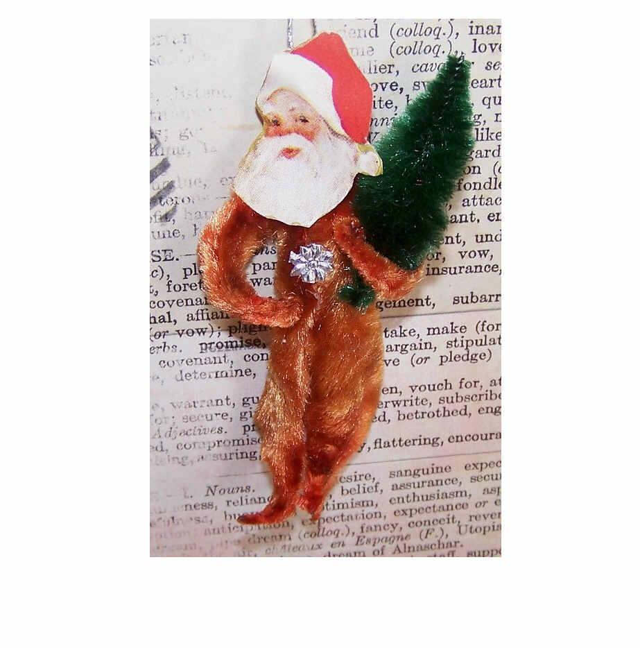 1960s Made in Japan RED CHENILLE & Christmas Seal Santa Ornament!