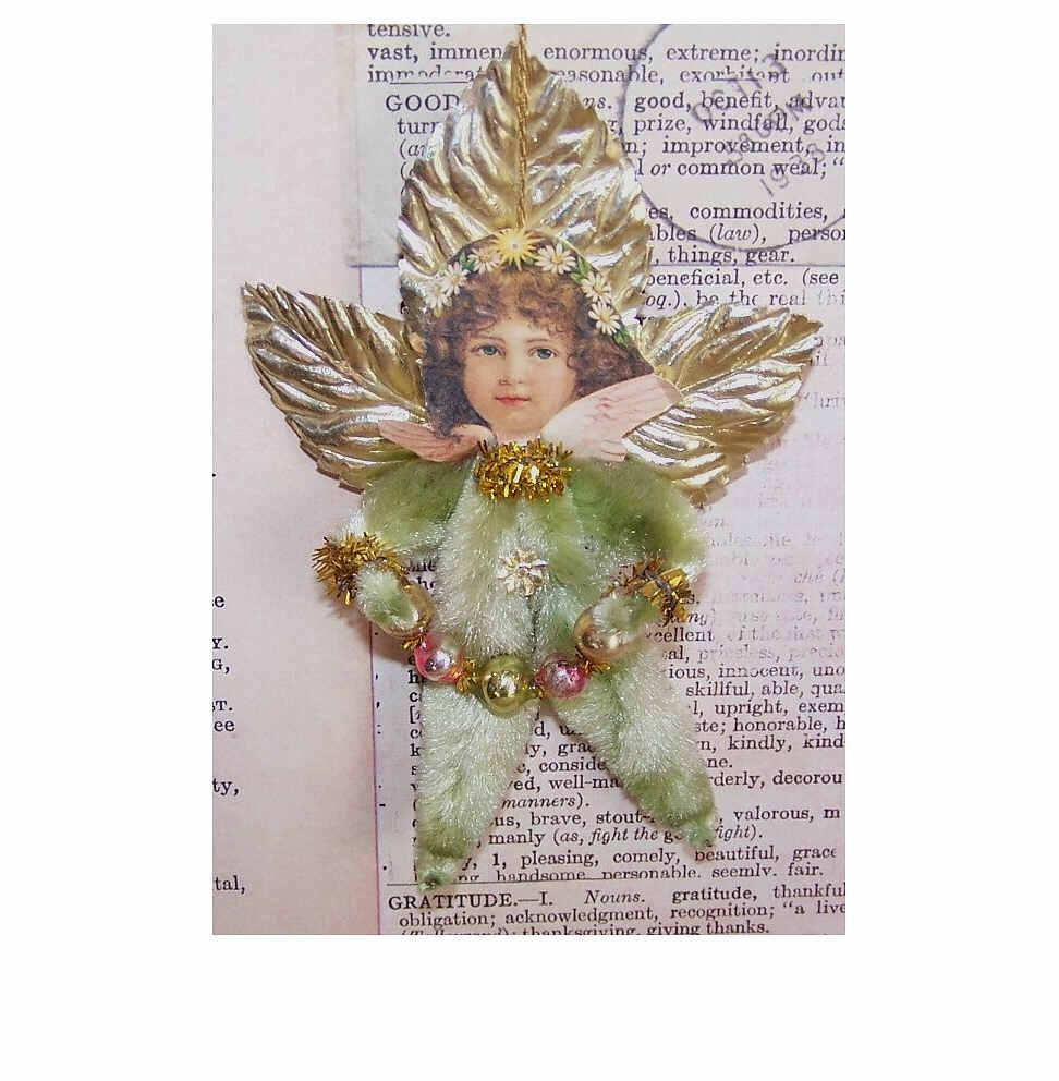 Vintage CHENILLE Christmas Ornament - Pink & Pale Green Angel with Garland!