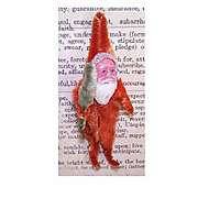 1960s Made in Japan RED CHENILLE & Clay Face Santa Ornament!