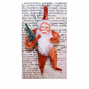 1960s Made in Japan RED CHENILLE & Paper Face Santa Ornament!