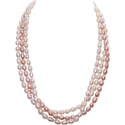 Vintage 3-Strand FRESHWATER PEARL Necklace - Cream & Peach Pearls!