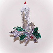 Vintage GERRYS Silver Tone Metal & Enamel Christmas Pin - Single Candle with Holly!