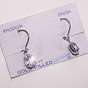 OLD STORE STOCK - C.1930 Gold Filled & Faux Rhinestone Drop Earrings on Original Card!