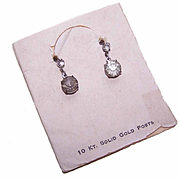 OLD STORE STOCK - C.1930 10K Gold Post & Faux Rhinestone Drop Earrings on Original Card!
