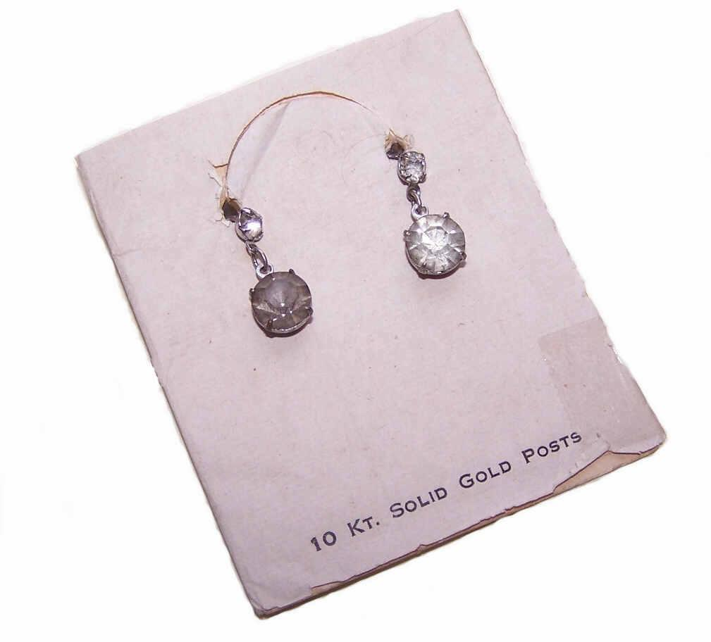 OLD STORE STOCK - C.1930 10K Gold Post & Rhinestone Drop Earrings on Original Card!