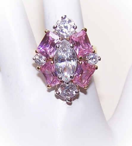 Vintage STERLING SILVER Vermeil & Pink/White Rhinestone Fashion Ring!